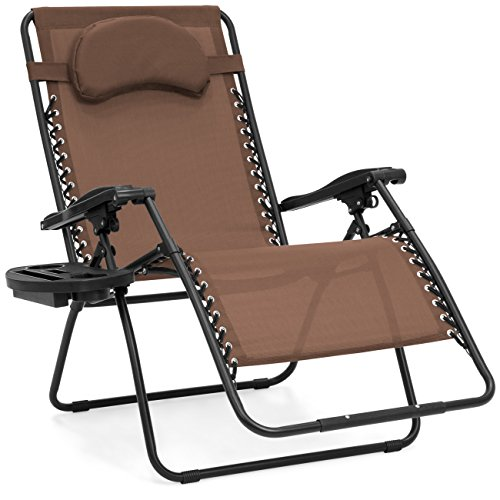 (Best Choice Products Oversized Folding Zero Gravity Chair, Outdoor Reclining Patio Lounger w/Cup Holder Accessory Tray, Removable Pillow - Brown)