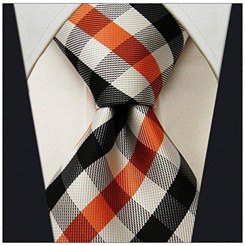 Ties Silk Necktie Logo (Gingham Plaid Ties for Men - Woven Necktie - Orange and Black)