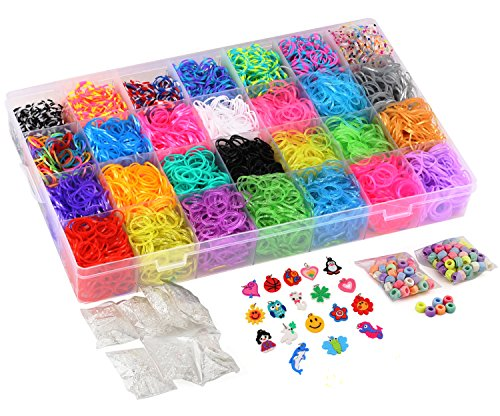 11,600+ Authentic Rainbow Rubber Bands Refill Set by Daskid - Includes: Loom Bands Organizer + OVER 10,500 Premium Loom Bands in 42 Different Colors, + over 600 S Clips, + 24 Charms and 200 Beads. (Rubber Band Bracelets Kit)