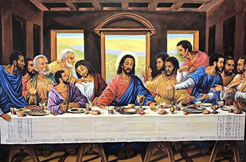 - Unframed Print THE LAST SUPPER ONE (RELIGIOUS) Artist JEAN R FRANCOIS 24x36 Black Art Print Poster African-american
