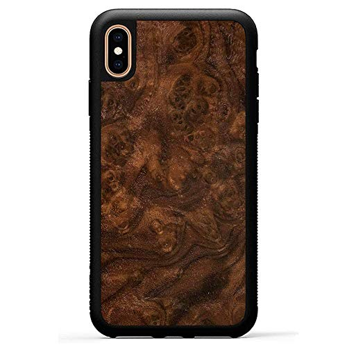 Carved | iPhone Xs Max | Luxury Protective Traveler Case | Unique Real Wooden Phone Cover | Rubber Bumper | Walnut Burl