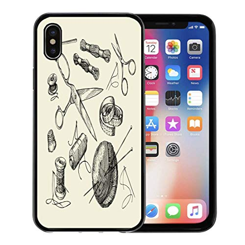 Emvency Phone Case for Apple iPhone Xs case,Vintage Sewing Notions Thread Needle Scissors Ball of Yarn Knitting Needles Crochet Sketch for iPhone X Case,Rubber Border Protective Case,Black