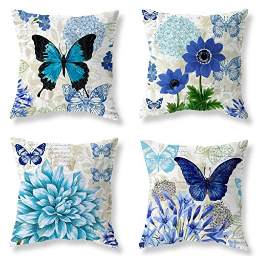Decorative Pillow Butterfly - Joyceoo Easter Blue Butterfly Figure Embellished with Orchid Artistic Leaves Graphic, Decorative Square Accent Pillow Case, 18 X 18Inches, Light Blue Dark Blue Gold