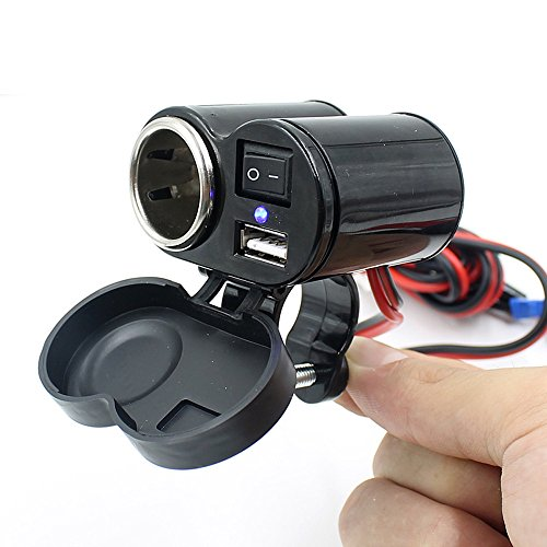 12V Motorcycle ATV Boat USB Car Charger Cigarette Lighter With Switch Outlet (Black)