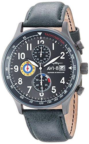 AVI-8 Men's 'Hawker Hurricane' Quartz Stainless Steel and Leather Aviator Watch, Color:Green (Model: AV-4011-0D)
