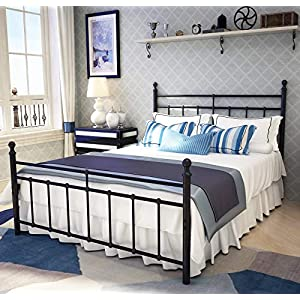 Metal Bed Frame Queen Size with Vintage Headboard and Footboard Platform Base Wrought Iron Double Bed Frame Blac