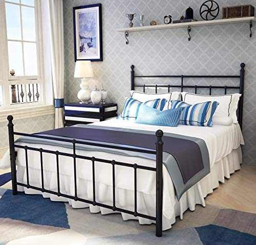 Metal Bed Frame Full Size with Vintage Headboard and Footboard Platform Base Wrought Iron Double Bed Frame Black