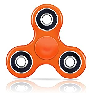 SMAZ LIFE Anti-Anxiety Fidget Spinner Toy Helps Focusings EDC Focus Toy for Kids & Adults - Best Stress Reducer Relieves ADHD Anxiety and Boredom Ceramic Cube Bearing Orange