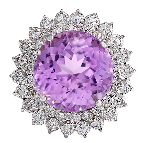 21.95 Carat Natural Kunzite And Diamond Ring 14K Solid White Gold