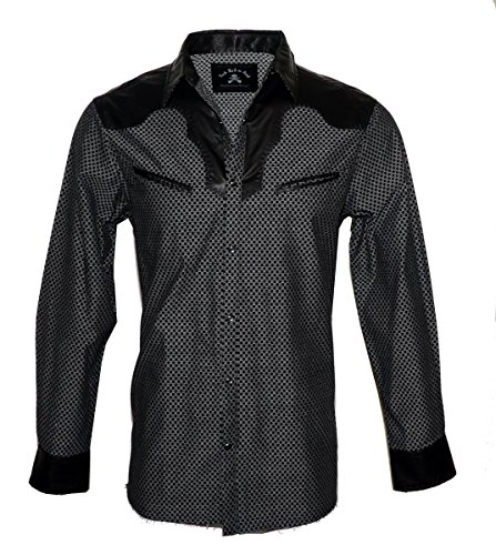 Rock Roll-n-Soul Men's Long Sleeve Western Faux Leather Yoke Fashion Button up Shirt 'Stars in The Sky' RRMW403B (XXL) -