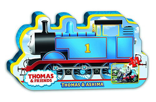 (Ravensburger Thomas & Friends: Thomas & Ashima in Train Shaped Box Floor Puzzle 24 Piece Jigsaw Puzzle for Kids – Every Piece is Unique, Pieces Fit Together Perfectly)