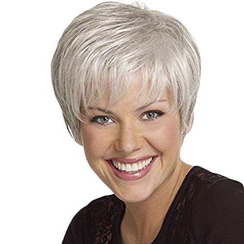 Western Inclined Bang Short Straight Wigs Stylish Women's Natural Full Hair Wigs ()