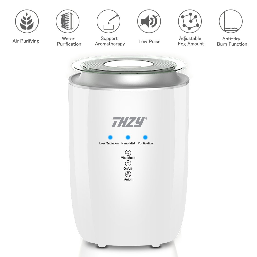 Ultrasonic Cool Mist Humidifier,THZY Whisper-quiet Air Humidifiers Large Capacity with Water Filter,360° Rotatable Mist Outlets 4L Adjustable Mist Mode Touch Control and Oil Diffuser