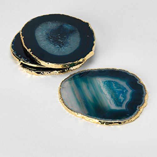 Set of 4 24k Gold Gilt-Edged Blue Agate Coasters by Fossil Gift Shop (Image #3)