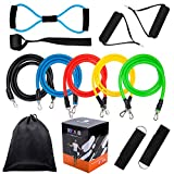 Fitness Resistance Bands Set,5Pcs Stackable Latex Workout Bands -8 Type Latex Resistance Tube, Handles,Door Anchor and Ankle Straps and Carrying Case-For Resistance Training,Home Workouts,Yoga,Pilates