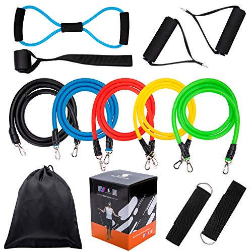 Fitness Resistance Band Set, 5Pcs Stackable Latex Workout Pull Bands, 8 Type Latex Resistance Tube, Ankle Straps, Door Anchor, Resistance Band Handles and Carrying Case for Yoga Strength Training