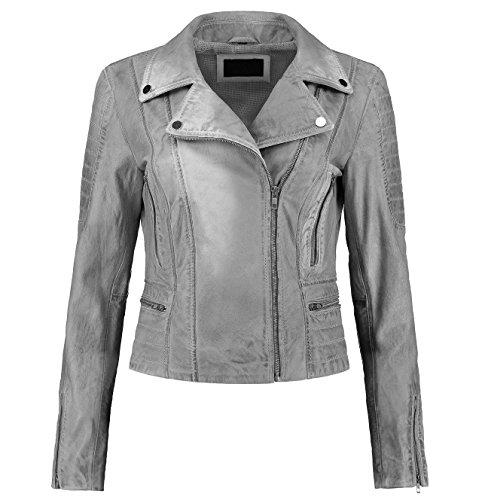 Distressed Vintage girls/lady's retro caf racer motorbike style Leather Jacket sale on Amazon (XS, Grey)