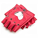 GOOTRADES Punk Fingerless Dance Glove For Women, Jazz Style Glove, PU Leather (Red)
