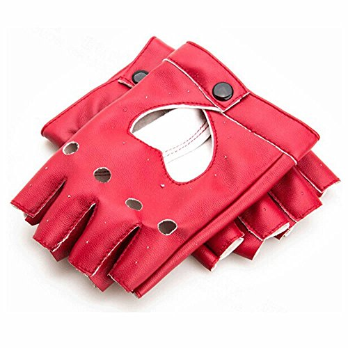 GOOTRADES Punk Fingerless Dance Glove For Women, Jazz Style Glove, PU Leather (Red)
