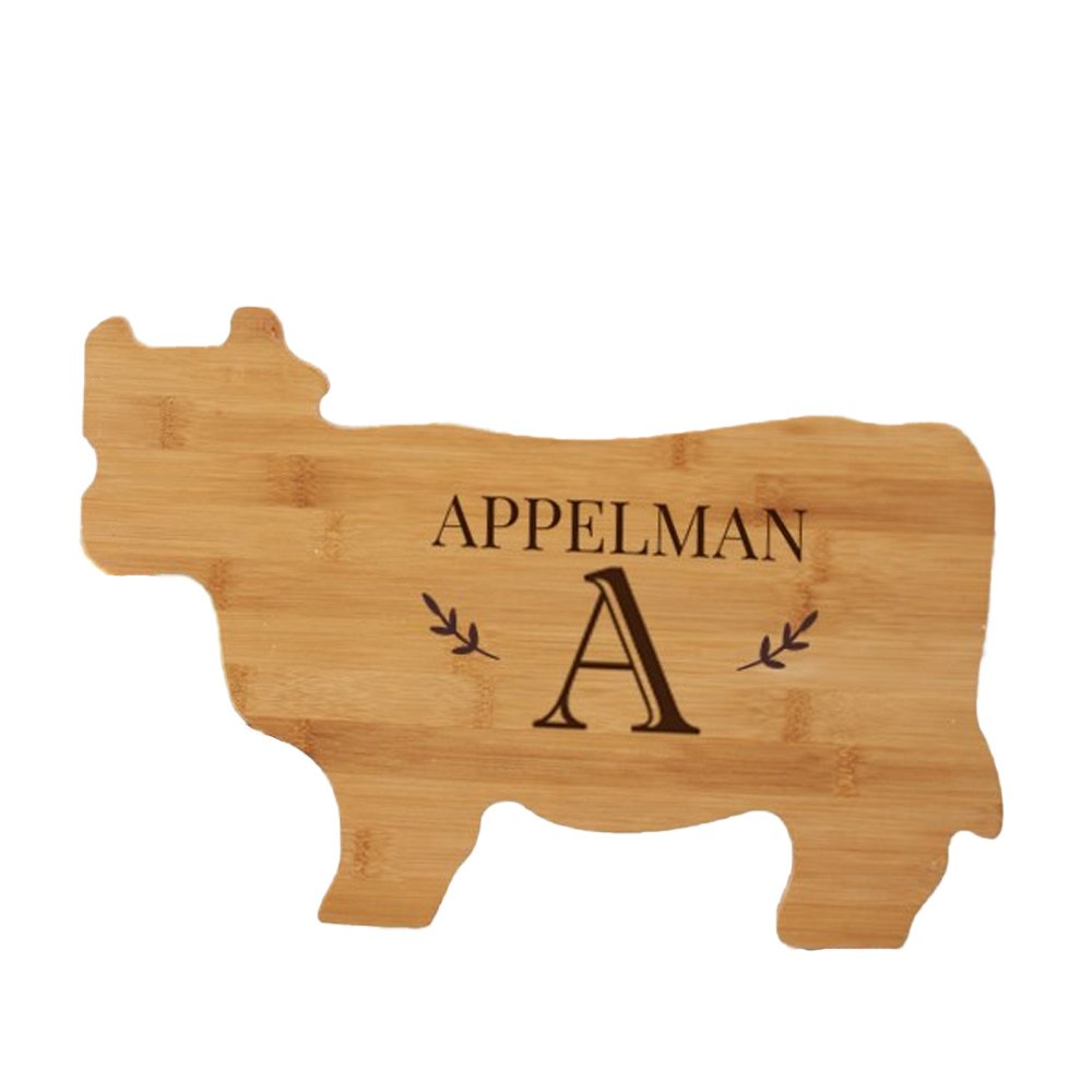 Engraved Family Name Animal Cutting Board - Cow, Bamboo