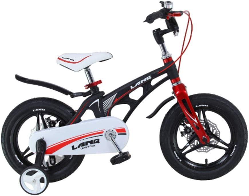 MQYZS Bicicleta Infantil para niños y niñas a Partir de 2-7| Bici 12-14-16-18 Pulgadas con Frenos,Ruedines de Entrenamiento Desmontables,Negro,18 Inches