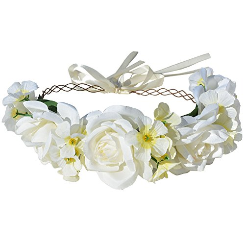 DRESHOW Flower Vine Crown Bridal Hair Decorations Head Floral Accessories Handmade Hair Vine Crown with Adjustable Ribbon for Beach and Festival Parti…