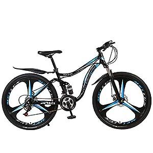 51IyOyAIQ1L. SS300 26 Pollici Mountain Bike per Adulti Bicicletta Doppia Resistenza All'assorbimento degli Urti Non Smorzata Auto Studente Bicicletta in Bicicletta Gita A Scuola per Lavorare,Black Blue,27 Speed