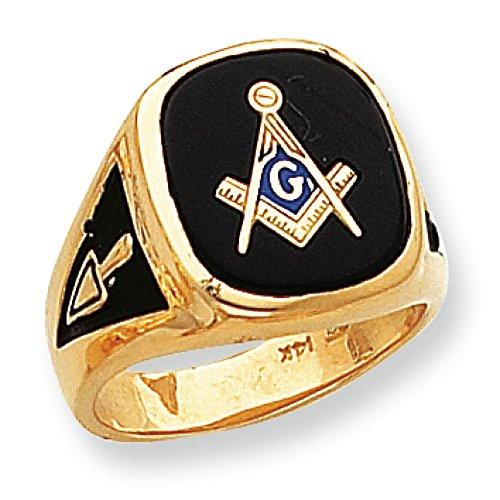 Black Onyx Masonic Ring (Men's 14K Yellow Gold Black Onyx Masonic Ring)