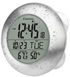 KADAMS Digital Bathroom Shower Wall Clock, Waterproof for Water Spray, Seconds Counter, Temperature Humidity, Moisture Proof, Month Date Day, Suction Cups, Hole & Stand - SILVER Brushed Aluminum Frame