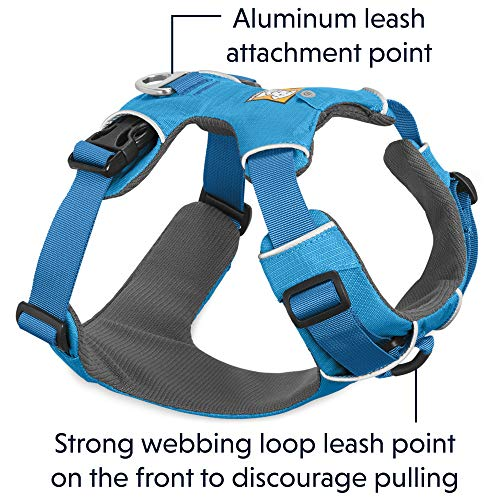 RUFFWEAR All Day Adventure Dog Harness, Medium Breeds, Adjustable Fit, Size: Medium, Blue Dusk, Front Range Harness, 30501-407M