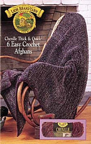 Chenille Thick & Quick 6 Easy Crochet Afghans Lion Brand Yarn