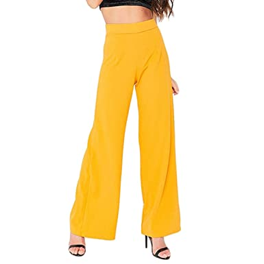 38d29818201c FLORHO Women High Waisted Wide Leg Pants Pull-on Slacks Thin Straight  Trousers Yellow S