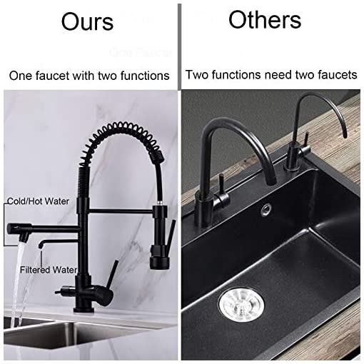 Kitchen Delle Rosa Kitchen Faucet, 3 Way Drinking Water Faucet, Modern Kitchen Faucet with Pull Down Sprayer, Dual Handles… modern sink faucets