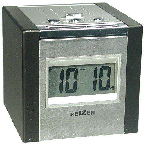Reizen Talking LCD Alarm Cube Clock - Silver and Black by Reizen