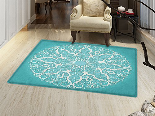 - smallbeefly Turquoise Bath Mats Carpet Round Curving Tree Branches Pattern Infinite Circle Symmetrical Cuves Floral Design Floor Mat Pattern White