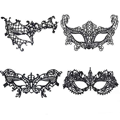 Meimask Lace Mask Lace Masquerade Mascaras Mascara de Ojo Veneciana Mujeres Sexy Eye Mask para Halloween Masquerade Carnival Party Costume Ball (4pcs)