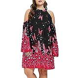 Plus Size Dress,Gillberry Women's 1920s Vintage Embellished Butterflies Print Cold Shoulder Dress
