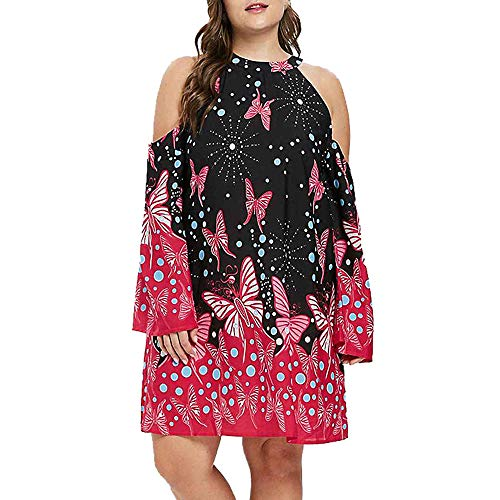 NREALY Halloween Women's Fashion Plus Size Cold Shoulder Long Sleeve Butterflies Printed Mini Dress(XL, Red)]()
