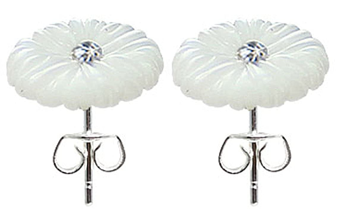 trending jewels Natural Resin White Stone Flower Stud Earrings