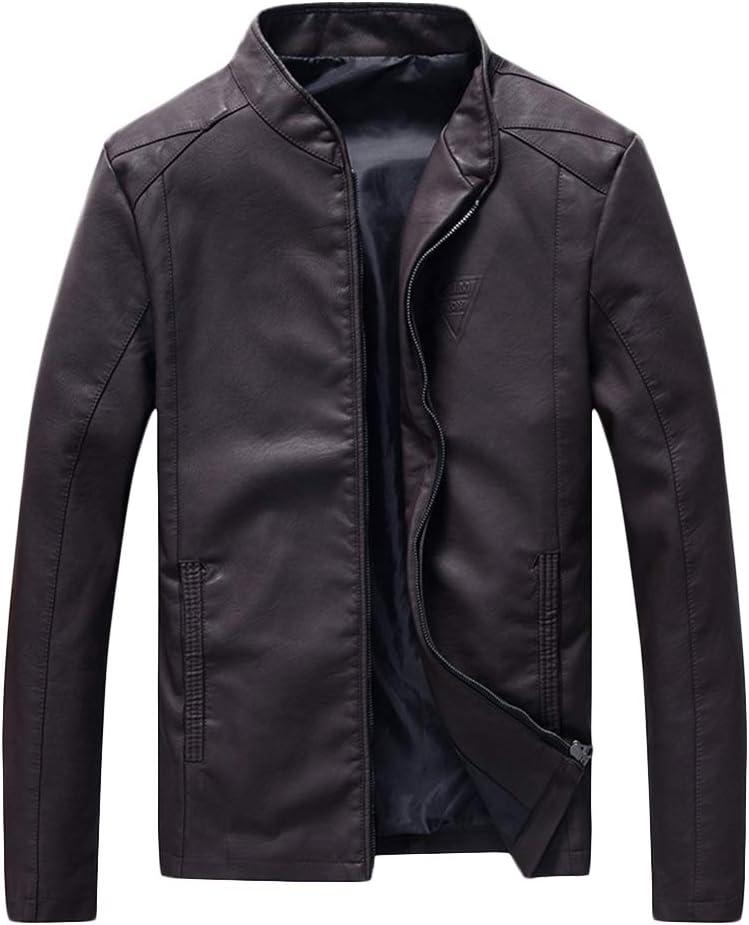 QitunC PU Cuero Chaqueta de Motorista Hombre Collar del Soporte Slim Plus Size Imitación Cazadora de Piel Abrigos