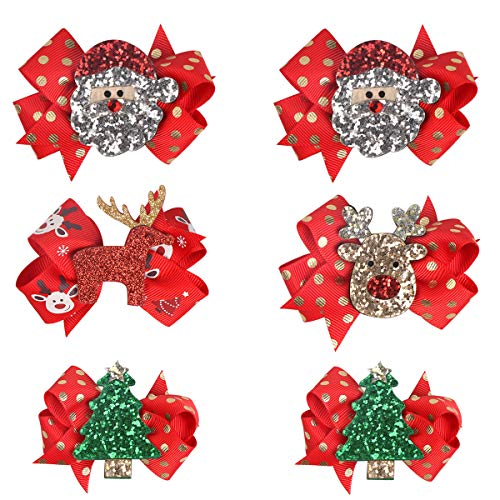 AwEx Christmas Hair Accessories, Hair Bows for Girls, 6 PCS Red Hair Clips with Christmas Decorations,Barrettes of Gift Package