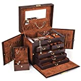 Kendal Shining Image Brown LEATHER JEWELRY BOX/CASE/STORAGE/ORGANIZER WITH TRAVEL CASE AND LOCK