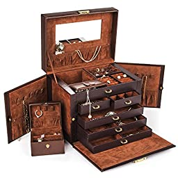 Shining Image Brown LEATHER JEWELRY BOX / CASE / STORAGE / ORGANIZER WITH TRAVEL CASE AND LOCK