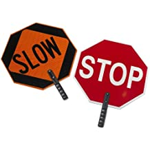"""Cortina 03-851 ABS Plastic Paddle Sign, Legend """"STOP/SLOW"""", 27"""" Height, Red on Orange"""