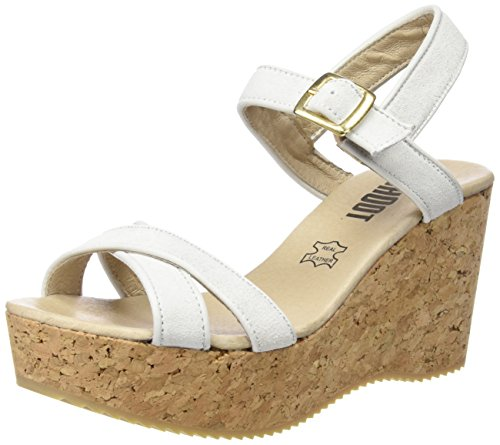 Sh Wedges 160035 Plateau Bianco SHOOT Bianco Damen Sandale Sandali Sommer Donna Shoes 1FqpU