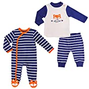 Baby Boy Twin Set, 0-3 Month. Footed Pajama and Matching Long-Sleeve Top-Pants.