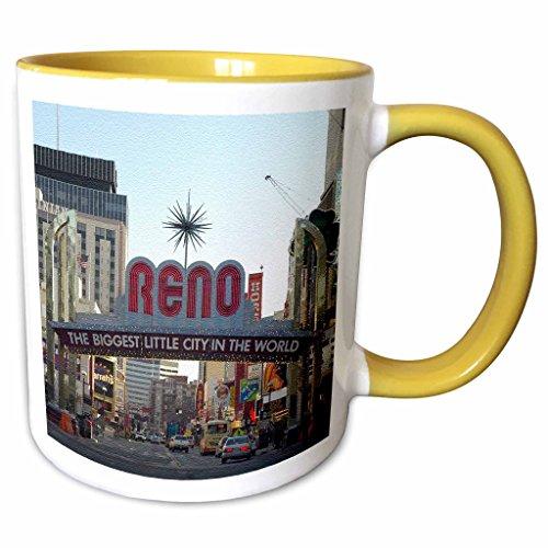 3dRose Sandy Mertens Nevada - Welcome to Reno, NY Entrance to the City - 11oz Two-Tone Yellow Mug - Nevada Reno Outlets
