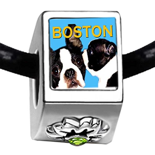 Silver Plated Boston Terrier Photo Peridot Crystal August Birthstone Flower Bead Charm Bracelets (Peridot Flower Charm)
