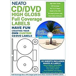 Full Coverage High Gloss Photo Quality CD/DVD Labels - 40 Pack (20 sheets, 40 labels)