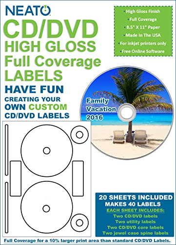 Full Coverage High Gloss Photo Quality CD/DVD Labels - 40 Pack (20 sheets, 40 labels) -